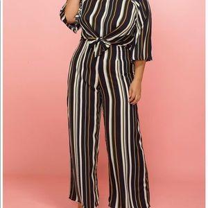 NWOT Tie Front Multi Stripe Wide Leg Jumpsuit 2X